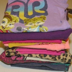 Lot 12 Pc Girls Clothing -Legging & Shirts Size 6T
